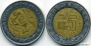 5 песо мексика 1994