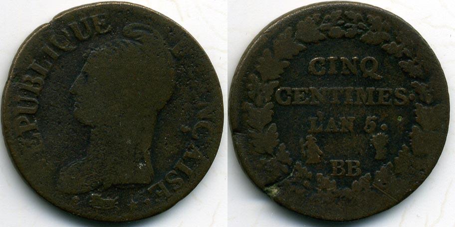 Купить 5 сантимов 1797 франция