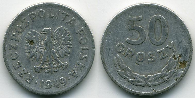 50 грошей 1949 г польша сто рублевые олимпийские купюры цена