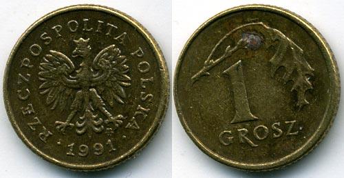 Польша 1 грош 1991 продажа монет в гомеле