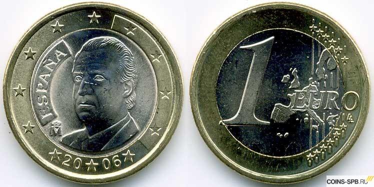 Монеты 1 евро испания 2 копейки 1985 цена