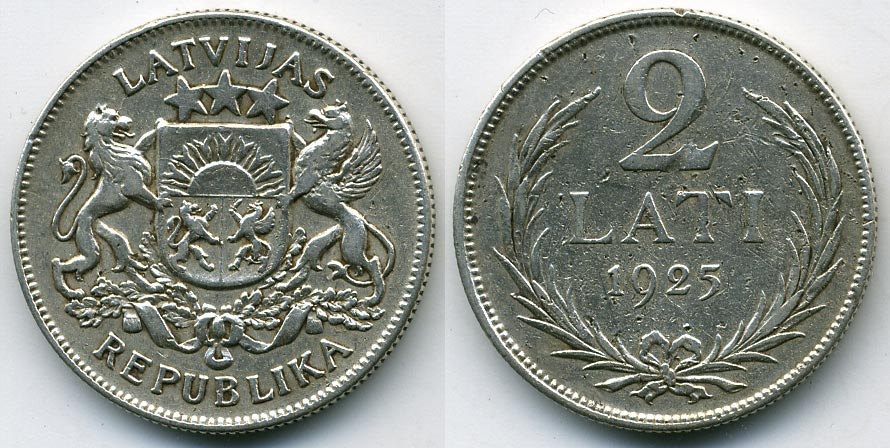 Латвия 1925 год 2 лата цена за сколько можно продать старые монеты