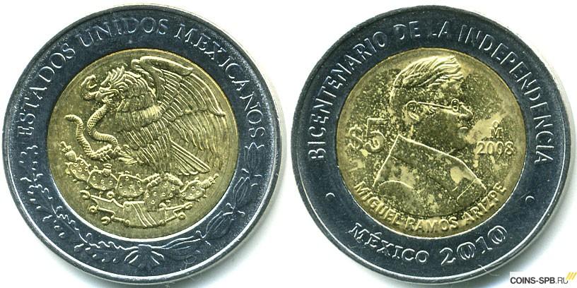 5 песо мексика 2008г